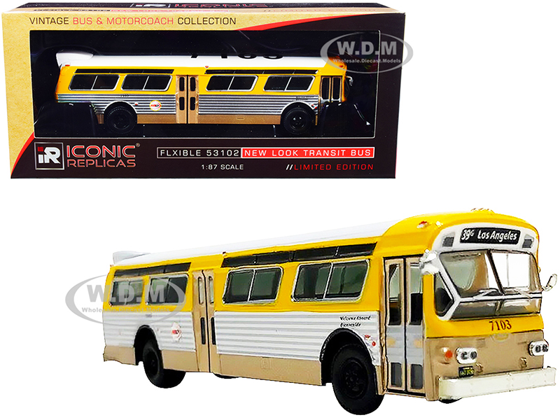 Flxible 53102 Transit Bus RTA (Los Angeles California) Yellow and Silver with White Top Vintage Bus & Motorcoach Collection 1/87 Diecast Mode
