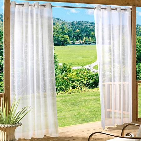 Escape Solid Indoor/Outdoor Grommet-Top Single Outdoor Curtain Panel, One Size , Black