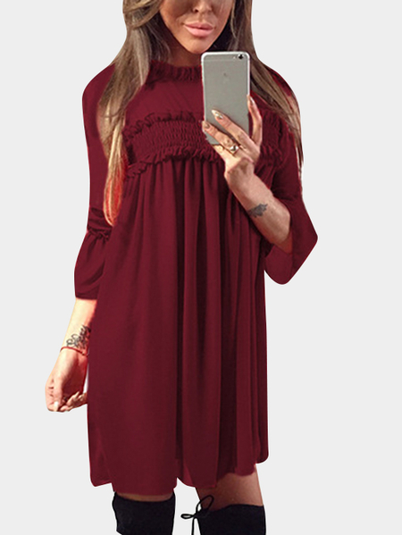 Yoins Burgundy Ruffle Trim Crew Neck Flared Sleeves High-Waisted Chiffon Dress