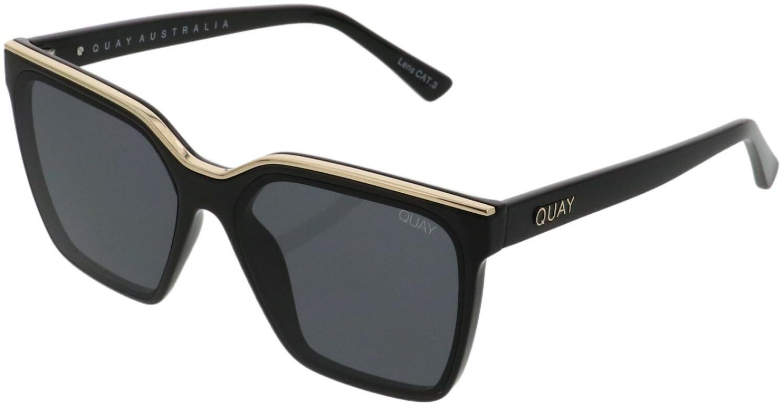 Quay Women's Level Up QW-000636-BLKGLD/SMK Black Square Sunglasses