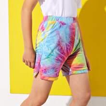 Shorts track de tie dye con abertura lateral