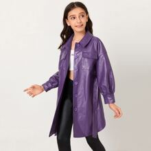 Girls Flap Pocket Front Drop Shoulder Self Belted PU Leather Coat