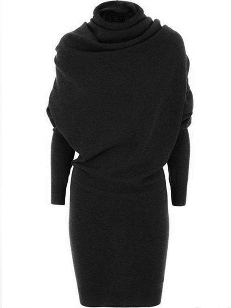Ericdress Heap Collar Patchwork Long Sleeve Sheath Dress