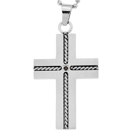 Stainless Steel Cross Pendant Necklace with Diamond Accent, One Size , No Color Family