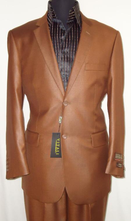 Mens Designer 2Button Shiny Rust Sharkskin Suit