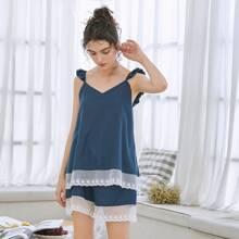 Schlafanzug Set mit Kontrast Spitze und Rueschenbesatz