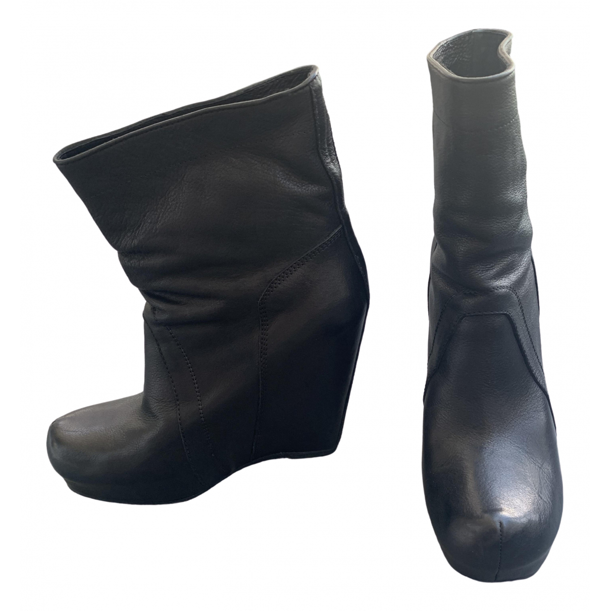 Rick Owens \N Black Leather Boots for Women 39 EU