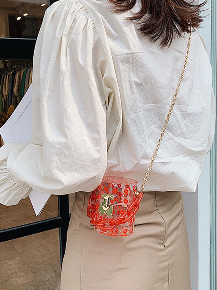 Women Acrylic Chains Lips Bucket Bag Crossbody Bag Handbag Shoulder Bag Satchel Bag