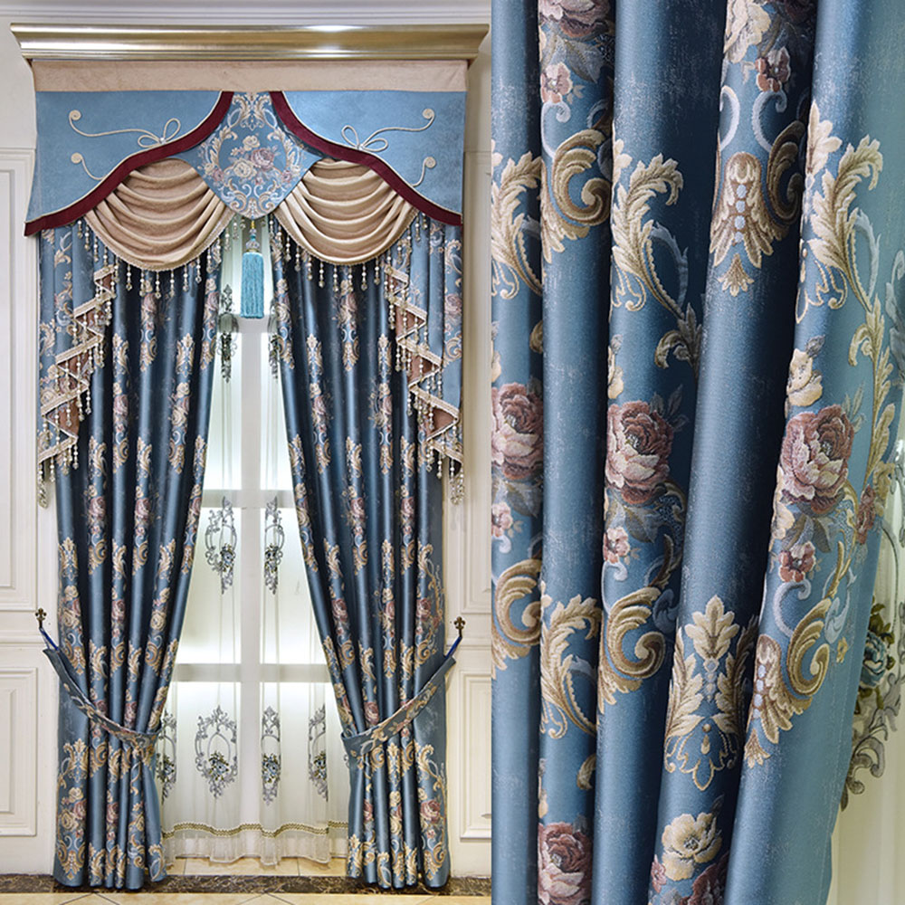 European Luxury Jacquard Blue Blackout Curtain Drapes Custom 2 Panels Grommet Curtains for Living Room No Pilling No Fading No off-lining