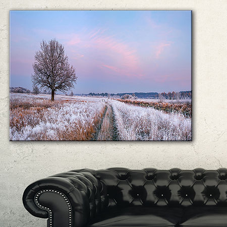 Designart Dry Oak Tree In Winter Panorama Canvas Art, One Size , Blue