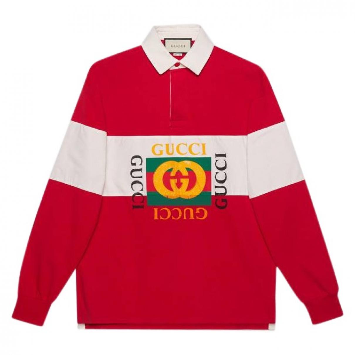 Polo en Algodon Rojo Gucci