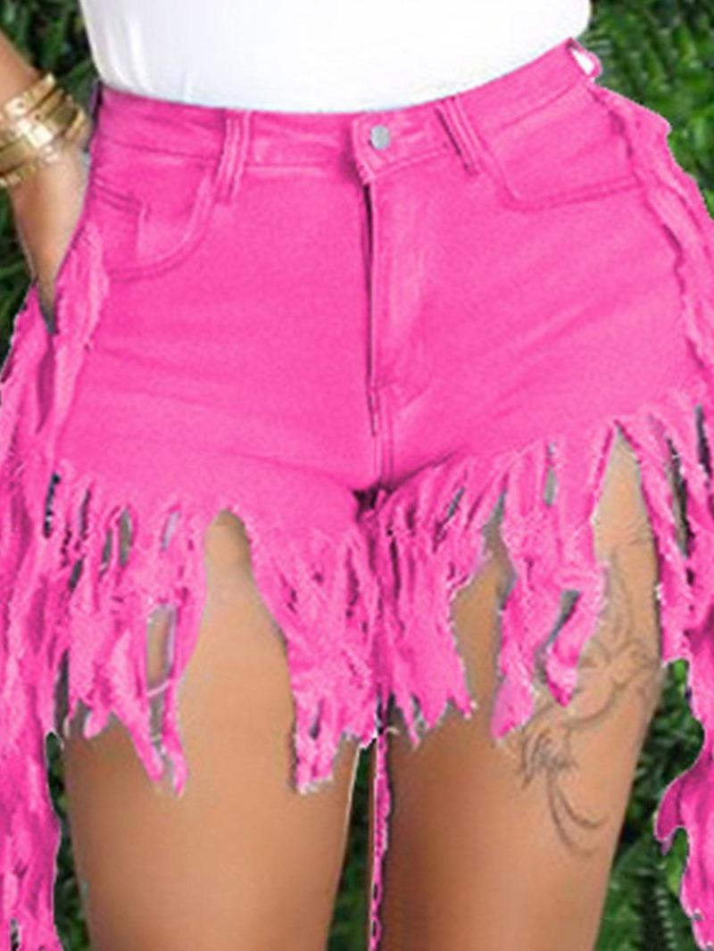 Ericdress Plain Tassel Mid Waist Zipper Shorts