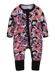 Red Leaf Long Sleeve Covered Feet Cotton Zipper Infant Jumpsuit/Bodysuit