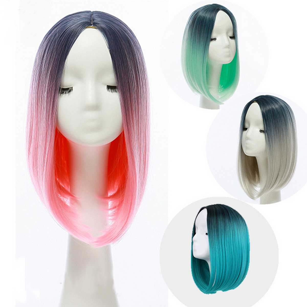 36cm Gradient Hair Straight Bob Wigs Heat Resistant Synthetic 4 Colors
