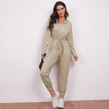 Zip Up Drawstring Waist Hooded Jumpsuit
