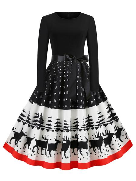 Milanoo Christmas Vintage Dress Jewel Neck Pleated Layered Long Sleeves Woman\\s Medium Pattern Rockabilly Dress
