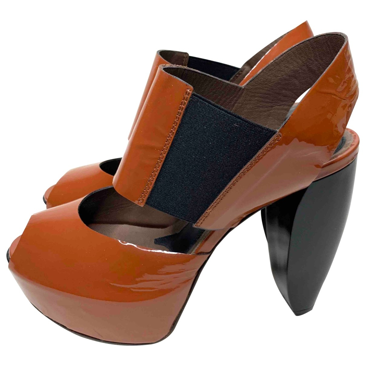 Marni \N Sandalen in  Orange Lackleder