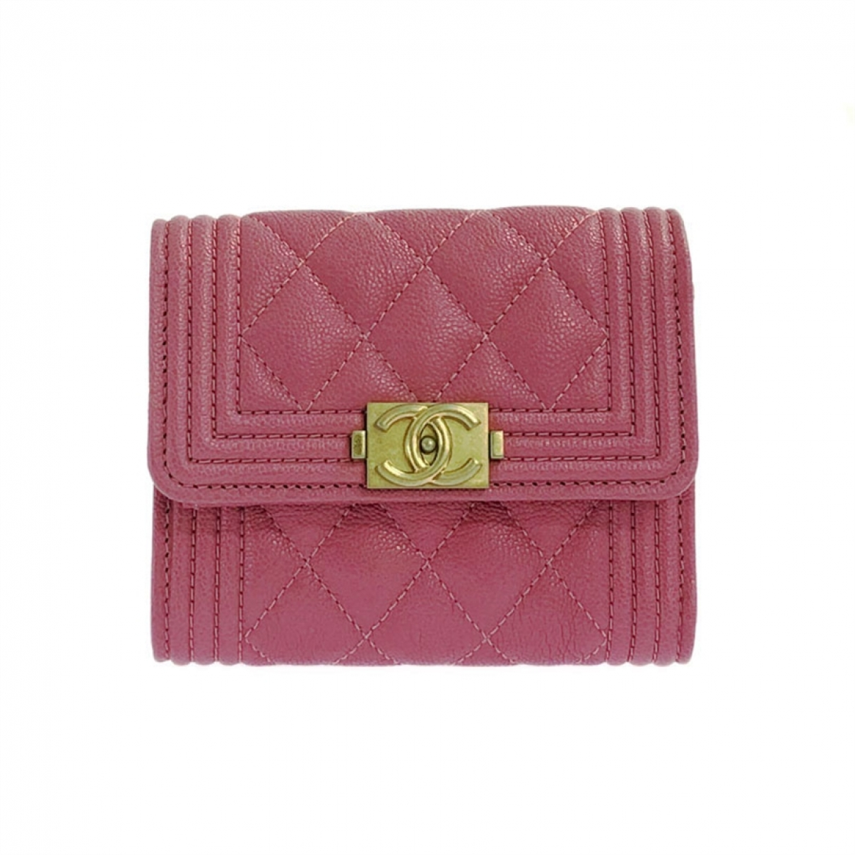 Chanel Boy Portemonnaie in  Rosa Leder