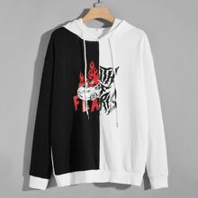 Guys Fire Graphic Colorblock Hoodie