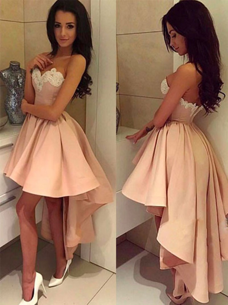 Ericdress A Line Sweetheart Applique High Low Asymmetry Cocktail Dress
