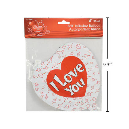 Self-Inflating Balloon I Love You Heart Vtines 6 1Pc