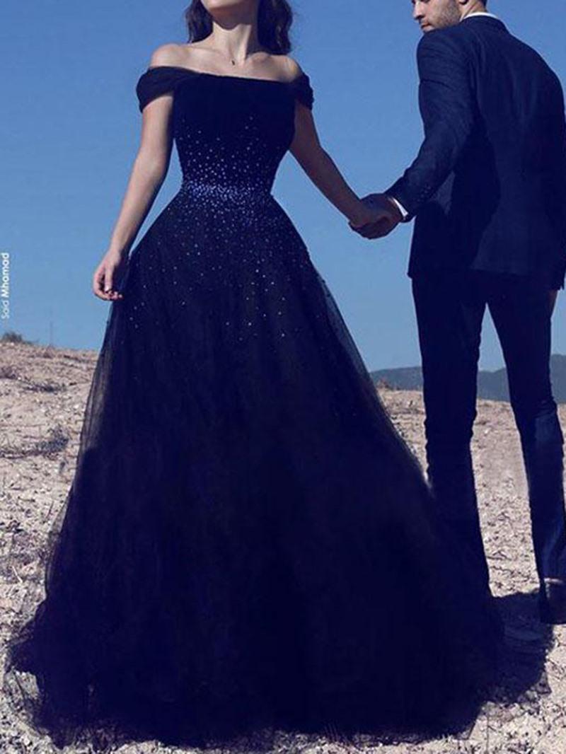 Ericdress Off-The-Shoulder Beading Floor-Length Sleeveless Evening Dress 2020