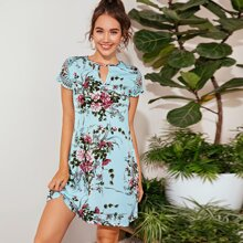 Keyhole Neck Guipure Lace Sleeve Floral Print Dress