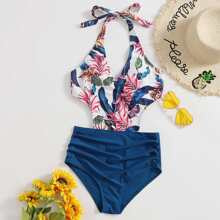 Einteiliger Badeanzug mit tropischem Muster, Rueschen, Ausschnitt und Neckholder