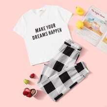 Maedchen T-Shirt mit Buchstaben Muster und Hosen PJ Set mit Plaid