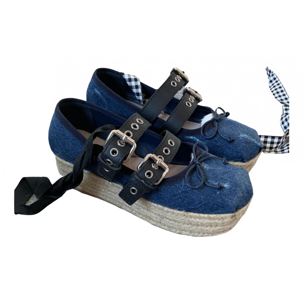 Miu Miu \N Blue Denim - Jeans Ballet flats for Women 36 EU