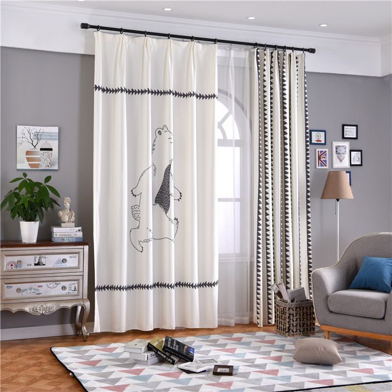 Blackout Polyester Cotton Digital Printing Pole Bear Modern Style 2 Panels Decorative Curtain