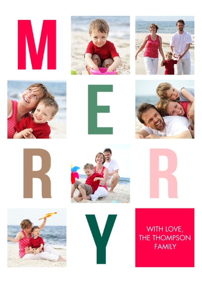 Christmas 5x7 Folded Cards, Standard Cardstock 85lb, Card & Stationery -Christmas Merry Letters