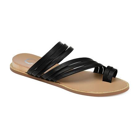Journee Collection Womens Consuelo Wedge Sandals, 8 Medium, Black