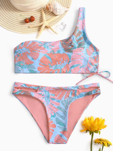 Yoins Pink Tropical Print Asymmetrical Lace-up Bikini Set