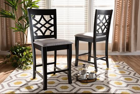 RH321P-GREY/DARKBROWN-PS Nisa Modern and Contemporary Grey Fabric Upholstered Espresso Brown Finished 2-Piece Wood Counter Stool