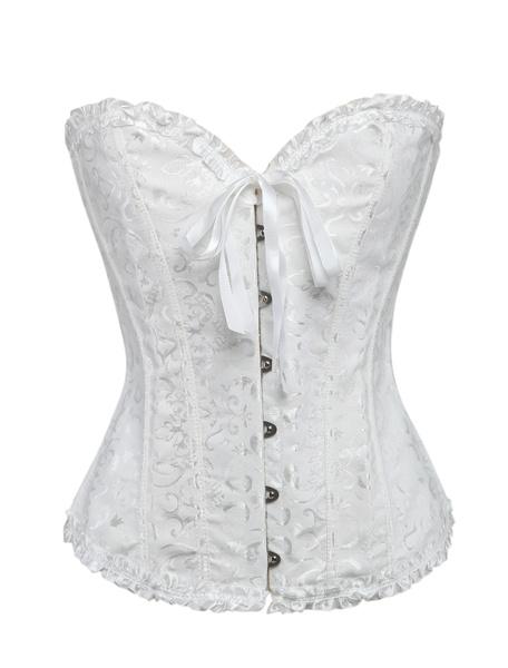 Milanoo White Sweetheart Jacquard Corsets