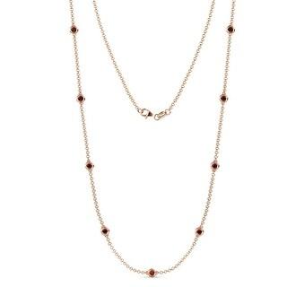 TriJewels 9 Stone Gemstone Womens Station Necklace 14K Gold (Red Garnet - Rose)