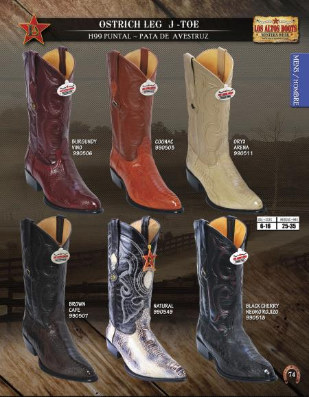 JToe Genuine Ostrich Leg Mens Western Cowboy Boots Diff. Colors/Sizes