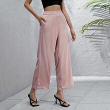Solid Wide Leg Satin Pants