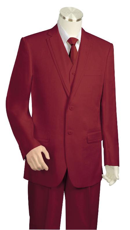 3 Button Suit Wide Leg Pants Wool feel Wine Trousers Suit Jacket