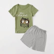 Toddler Boys Owl & Letter Graphic PJ Set