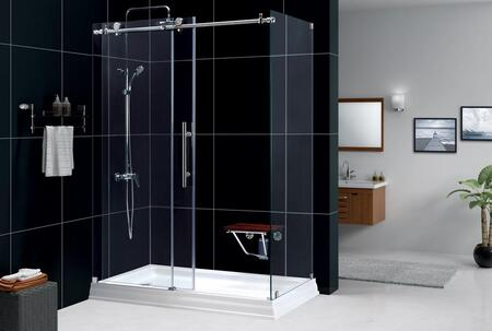 SHEN-6134600-07 Enigma-X 34 1/2 In. D X 60 3/8 In. W X 76 In. H Fully Frameless Sliding Shower Enclosure In Brushed Stainless