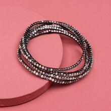 5 Stuecke Armband mit Strass Dekor