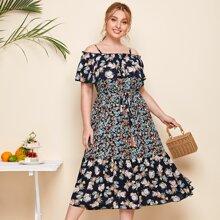 Schulterfreies A Linie Kleid mit Blumen Muster und Selbstband