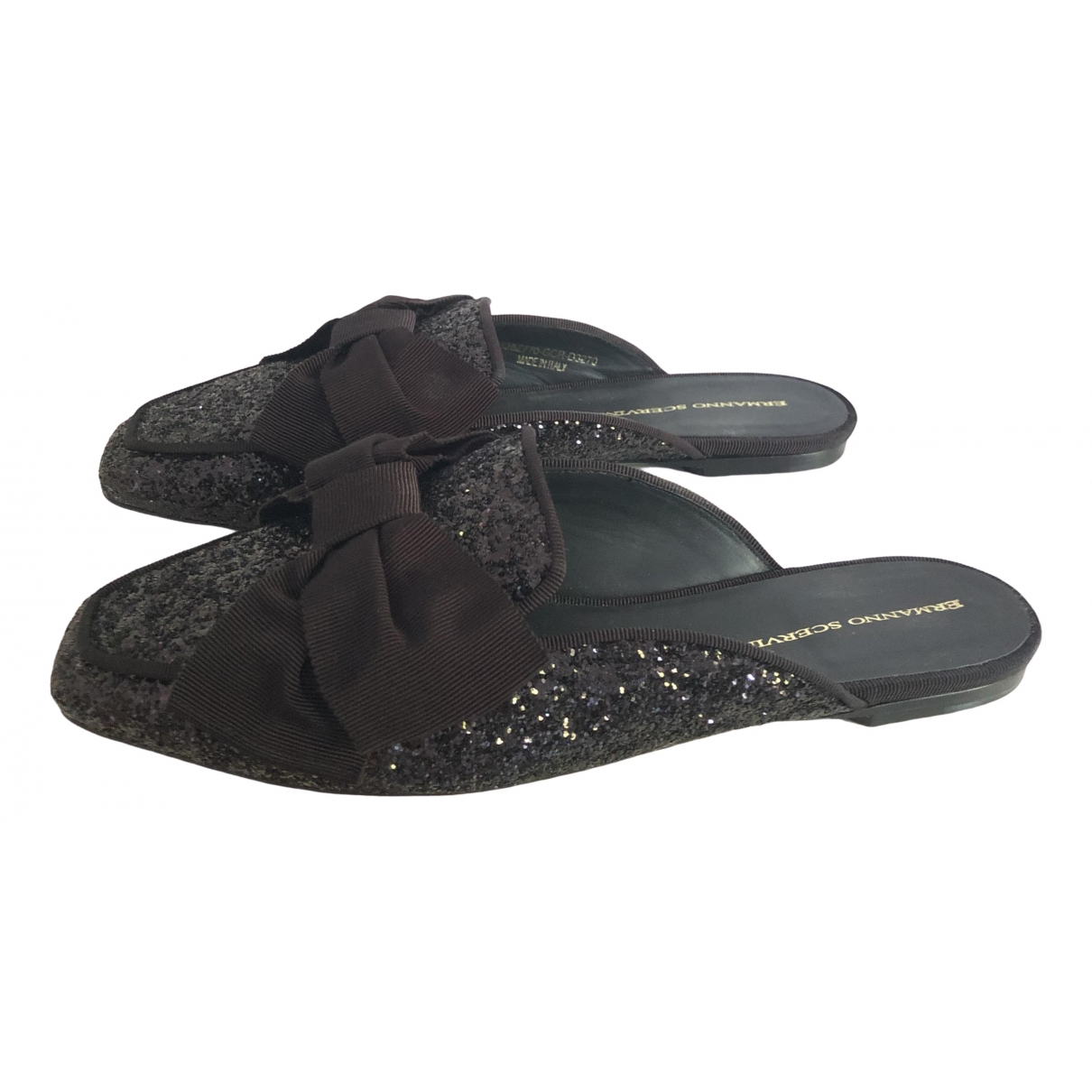 Ermanno Scervino \N Black Glitter Mules & Clogs for Women 41 EU