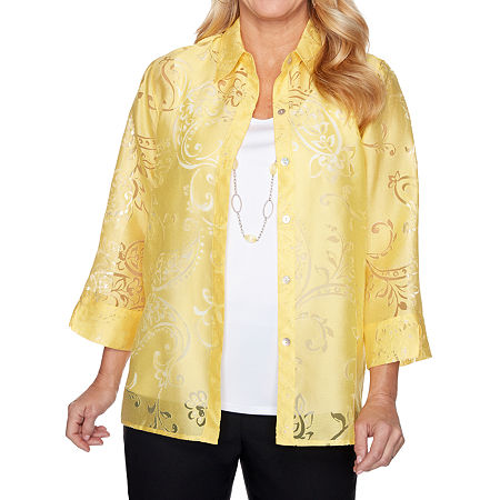 Alfred Dunner Riverside Drive Womens Crew Neck 3/4 Sleeve Layered Top, Large , Yellow
