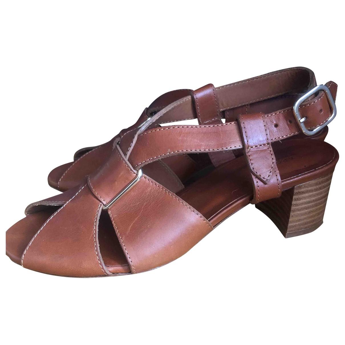 Apc - Sandales   pour femme en cuir - marron