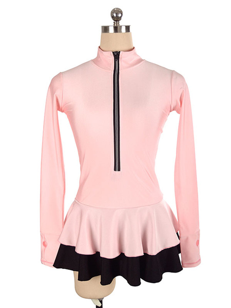 Milanoo Skating Dress Pink Polyester Two-Tone Dance Costumes