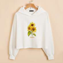 Sunflower & Letter Graphic Crop Hoodie