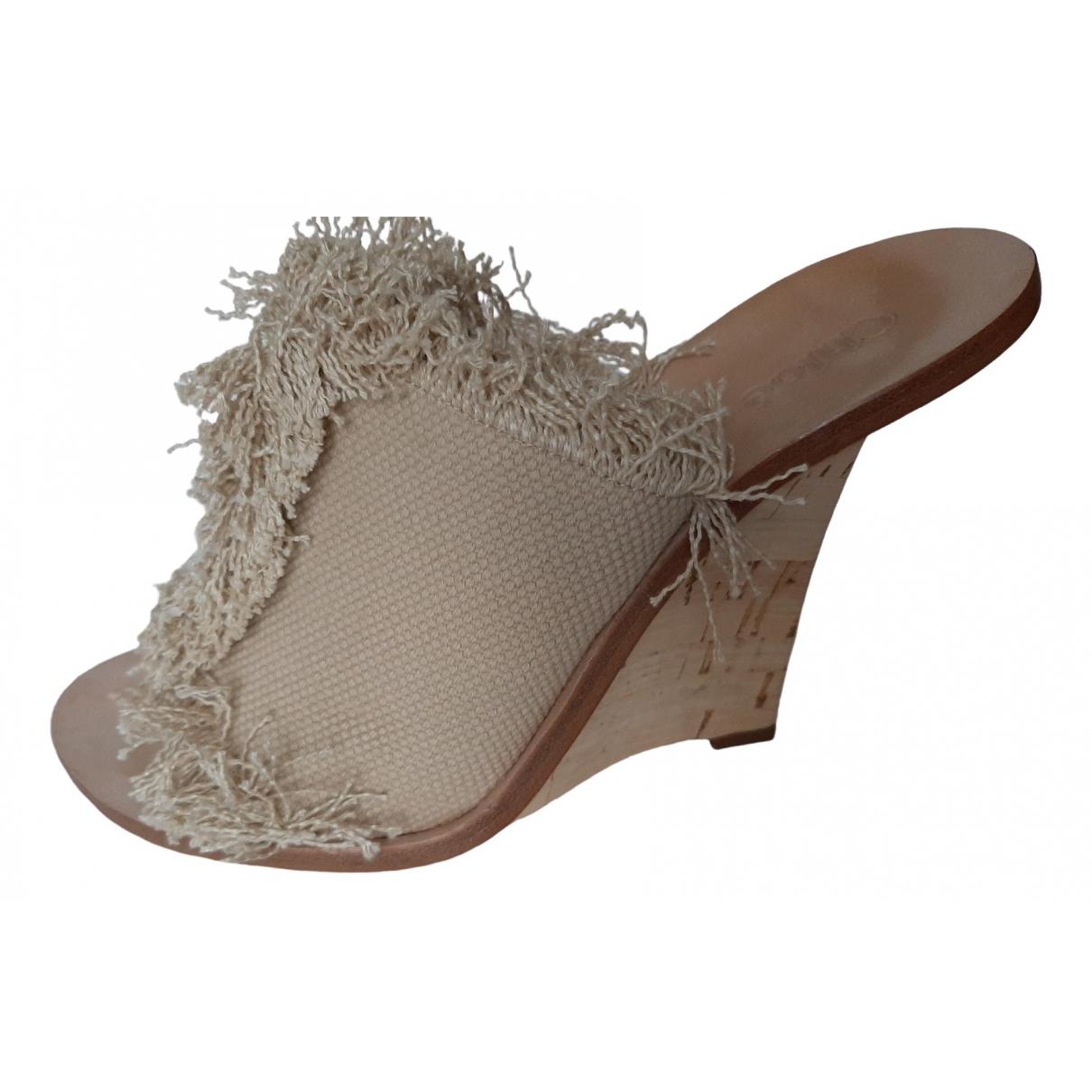 Chloe - Sandales   pour femme en tweed - beige